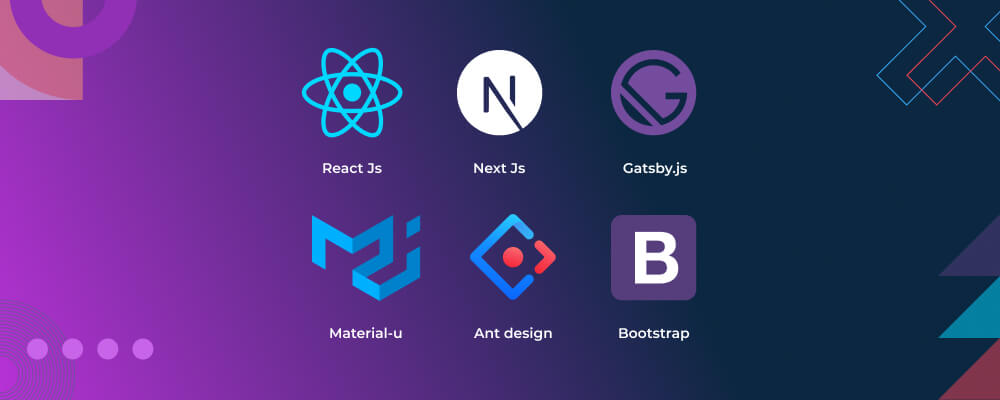 this is an image of react-js-tools' logos