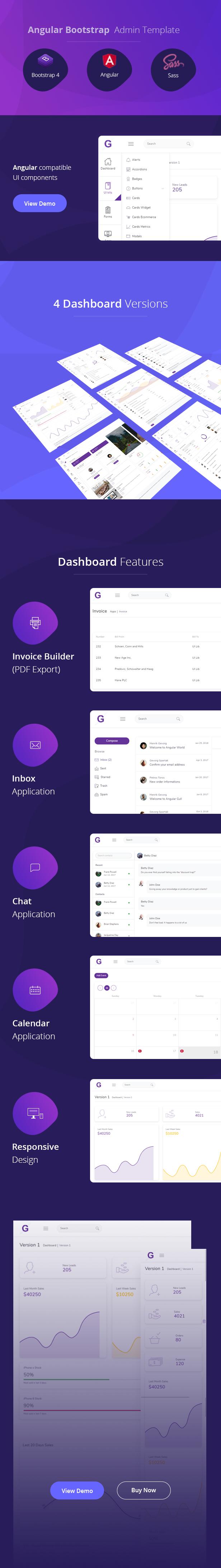Gull Deshboard Features - Gull - Angular 11+ Bootstrap Admin Dashboard Template