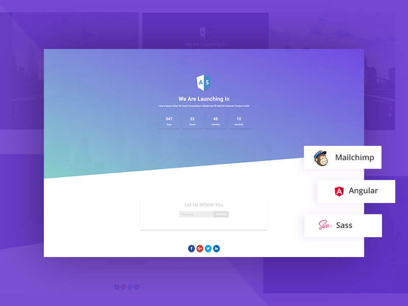 NG Soon Angular Material Free Coming soon template